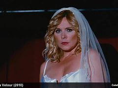 Celebrity Kim Cattrall Stripping Hot In Silk Lingerie